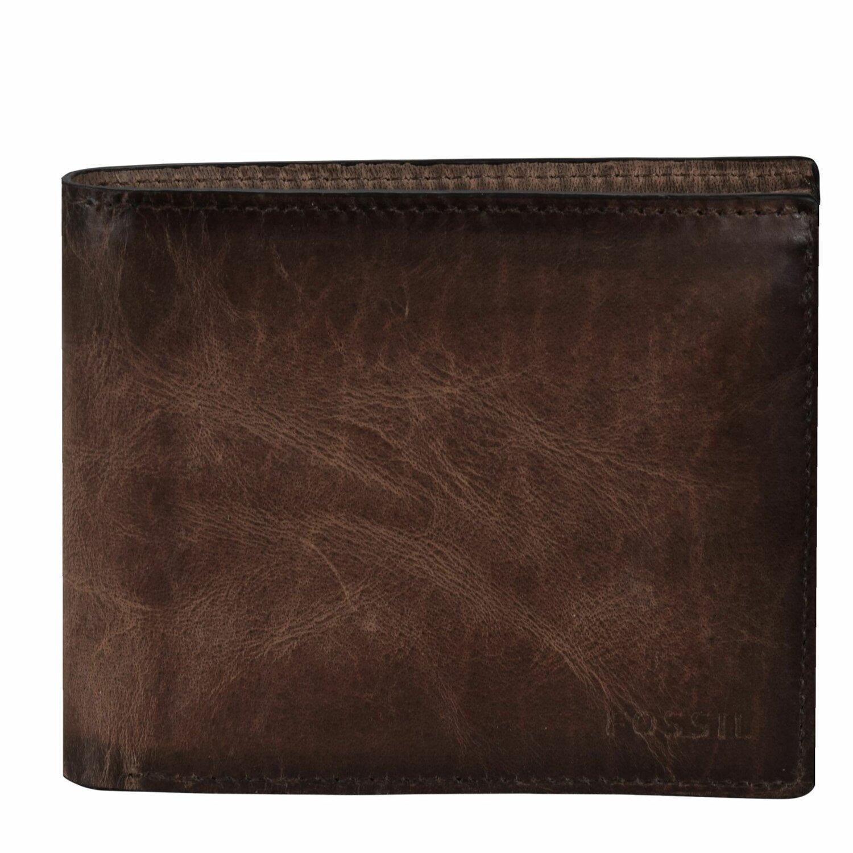 ... Fossil Derrick Geldbörse Leder 11,5 cm dark brown ...