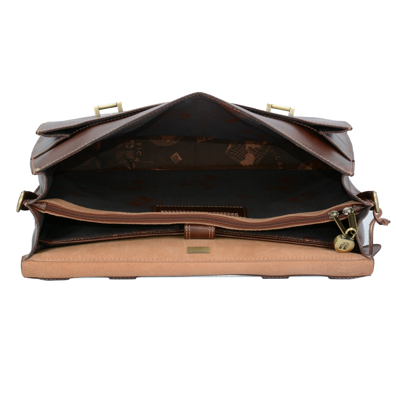 989b7b3a7f730 Picard Toscana Aktentasche Leder 42 cm Laptopfach schwarz